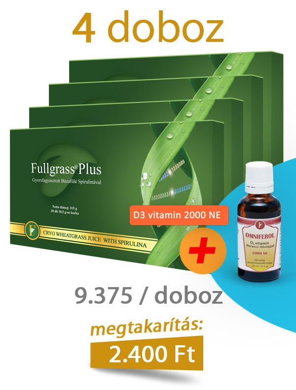4 doboz Fullgrass Plus mélyfagyasztott búzafűlé + D3 vitamin
