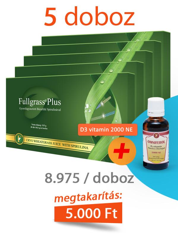 5 doboz Fullgrass Plus mélyfagyasztott búzafűlé + D3 vitamin